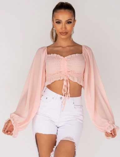 Shirring Detail Tie Up Front Sheer Sleeve Crop Top